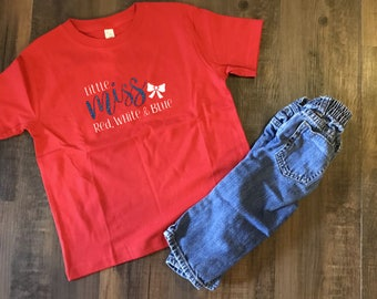 Little Miss Red White and Blue Toddler Tee