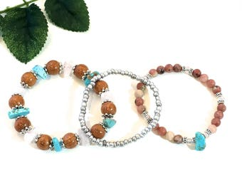 LEPIDOLITE Pink Rose Quartz BRACELET SET gemstone chips wooden beads stacker bracelets boho bracelet rustic gemstone jewelry pink bracelet
