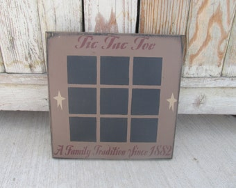 Primitive Tic Tac Toe Game Board with Chalk Board Painted Squares GCC6184