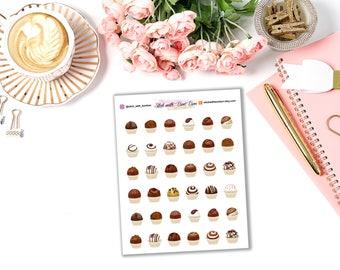 Chocolate planner stickers || Erin Condren Life Planner, Kikki K, Plum Paper Planner