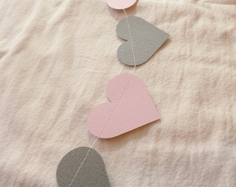 Pink and Gray Paper Heart Garland | Wedding Shower and Bridal Decor