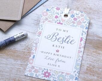 Personalised 'Bestie' gift tag