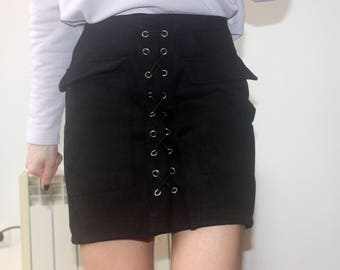 Black lace suede mini skirt