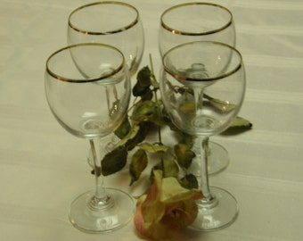Set of Four Retro Wine Glasses