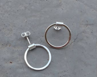Silver,Hoops,Handmade,Studs,Simple,Geometrical,Gift For Her,Hammered,Everyday