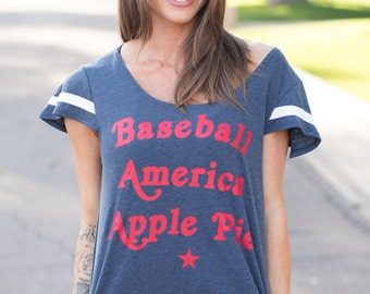 Baseball America Apple Pie. Women's Patriotic Tee. Baseball Shirt. Softball Shirt. Made in USA. America Shirt. Women's 4th of July Top.