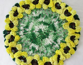 Hand Crocheted 100% Cotton Dish Cloth Remeniscent of Sunflowers