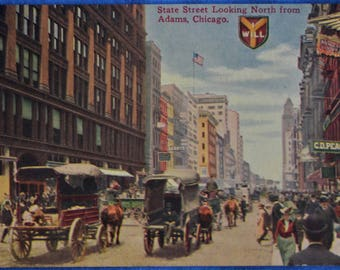 Horse Buggies State Street Chicago Illinois Looking North from Adams Antique Postcard