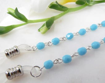 Turquoise blue glasses chain; reading glasses; eyeglasses chain; glasses leash; glasses holder; eyeglass necklace; readers chain