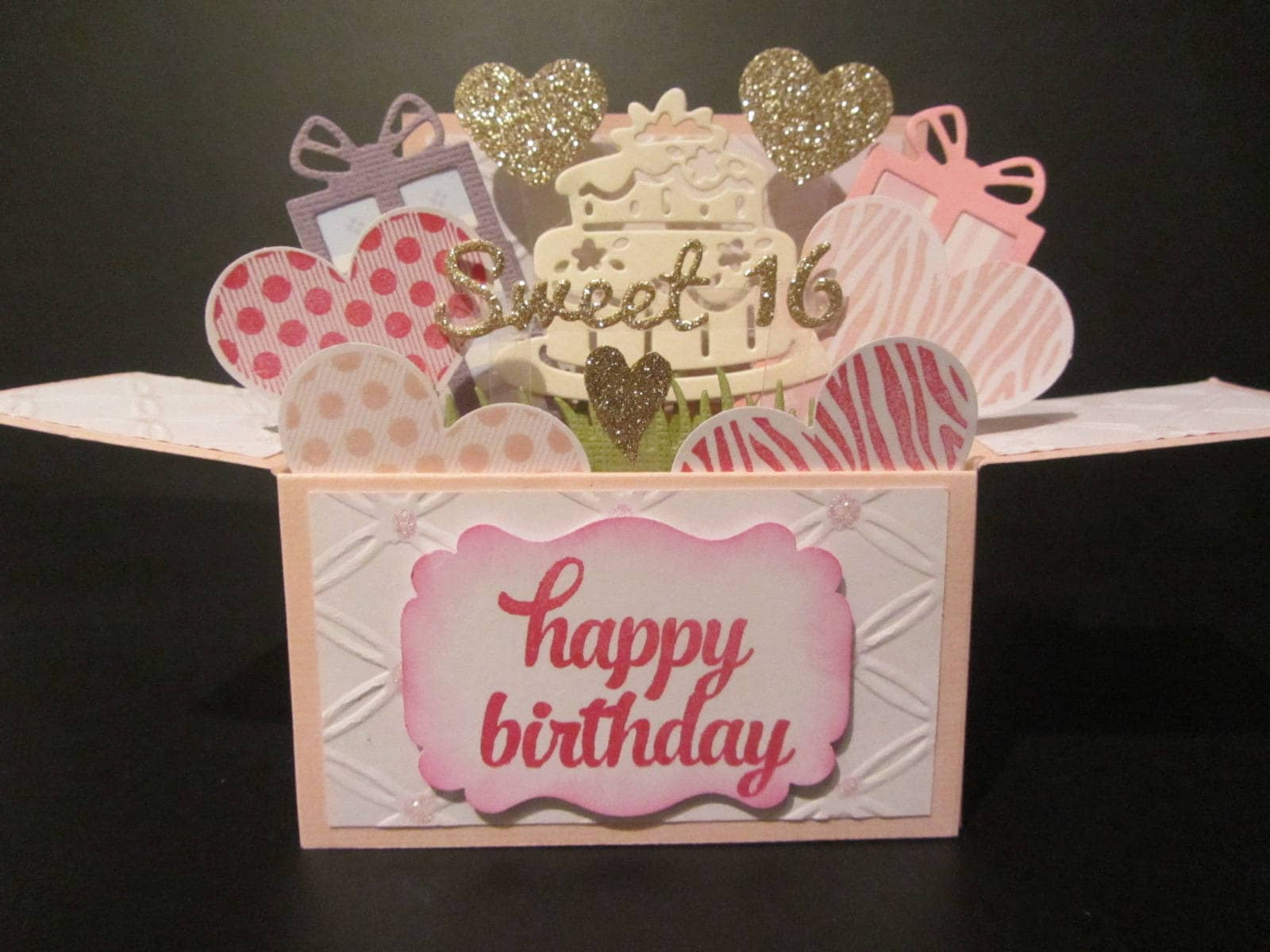 Handmade 3D birthday card in a box Sweet 16PERSONALISED