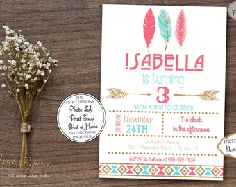 INSTANT DOWNLOAD - Coral and Mint Gold Glitter Tribal Birthday Party Invitation - Feather Aztec Birthday - Arrows Pow Wow Boho - 0167
