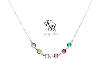 Mother of Bride Gift - Birthstone Necklace - Mom Gifts - Bridal Necklace - Birthstone Jewelry - Wedding Jewelry - Mother Gift - Mom Gift