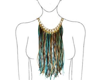 Fringe statement necklace. Bohemian bib necklace. Long necklace Bridesmaid necklace Ethnic necklace Christmas gift Gift for her Gift for mom