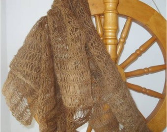 Caramel Alpaca Ladder Knit Scarf