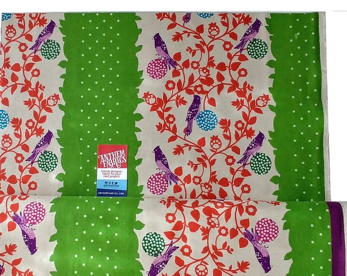 ECHINO Bird Perch EF604-D Green- Japanese cotton linen fabric by Etsuko Furuya, half yard