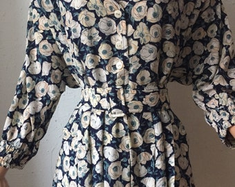 Karl lagerfeld 80s floral silk dress