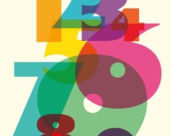 123 in Colour art print