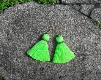 Green earrings, Tassel earrings, boho earrings, Neon earrings, Handmade earrings, cotton earrings,Ombre earrings.