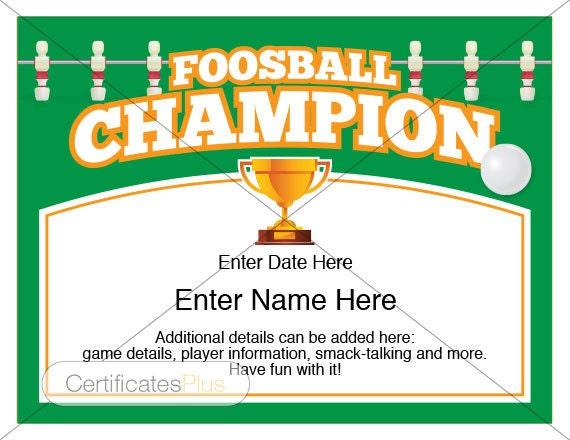 Foosball Certificate Champion Award Foosball award