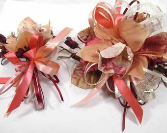 Coral Orchid and Burgundy with Ivory Pearl Wrist Corsage Homecoming or Prom Set ready to ship