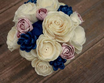 Sola flower bouquet, brides wedding bouquet, navy blue and dusty rose wedding flowers, navy blue bridal bouquet, eco flowers, keepsake