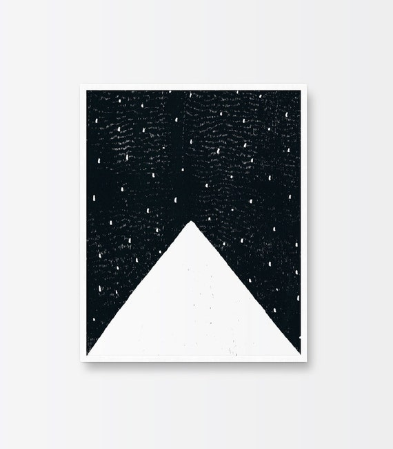 Printable art mountain poster black and white minimalist art hand illustrated mountain peak hand drawn linocut woodcut ink pen