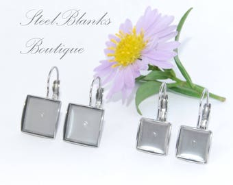 Stainless Steel French Clip Caboshon Earring Blanks Square 10x10mm/12x12mm