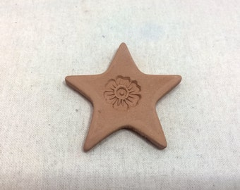Handmade terracotta sugar keeper/ essential oil diffuser- pottery star with flower stamp, in white mesh gift bag- brown sugar saver,