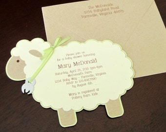 Vintage Lamb gender neutral baby shower invitation