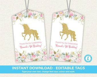 Unicorn Favor Tags, Unicorn Favors, Unicorn Party, editable favor tags, unicorn thank you tag, unicorn birthday party, templett tag, instant