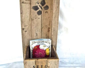 Handmade Rustic Seed Packet Standing or Wallhanging Box Vintage Reclaimed Aged Lattice Wood Redesign Home and Living Garden Shed Decor