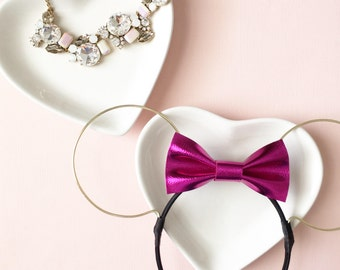 MAGENTA METALLIC (Faux) Leather Bow Wire Ears