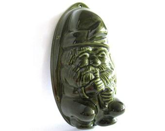 Vintage Green Ceramic Gnome Mold, Vintage Jelly Mold, Pudding mold. Kitchen Decor. #70AG166KC