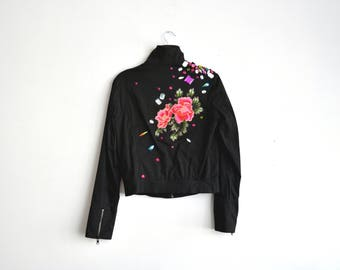 upcycled canvas jacket with acrylic gems and pink embroidered flower patch - S/M