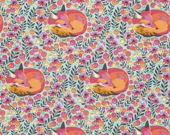 Tula Pink - Chipper - Fox Nap in Sorbet -pink red orange cotton fabric flowers quilting cotton freespirit westminster