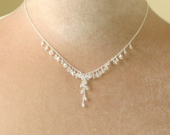 Crystal bridal necklace, wedding necklace, crystal statement necklace, cluster necklace - Sofia