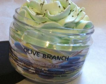 Olive Branch Whipped Soap. Fluffy Soap. Shaving Soap. 4oz. Lush Type.