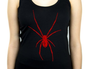 Red Widow Spider Women's Racer Back Tank Top Shirt - WRB-2014020-RED