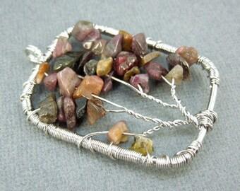 Tree of Life Pendant-- Silver-Plated Rectangle Fancy Jasper Tree of Life Pendant (RK61B1-09)