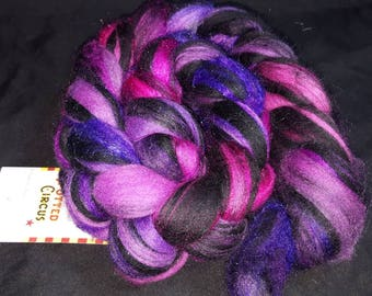 Stained Glass Merino Firestar combed top. Grapes pink and purple