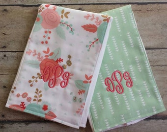 Monogrammed Baby Girl Burp Cloth, Personalized Baby Girl Burp Cloths, Baby Shower Gift,Floral, Gift Set of 2