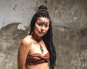 MACRAME Pendant with Azurite, Tribal, Ethnic, Boho Jewelry, Bohemian, Hippie chic, Festival jewelry, Macrame necklace, Healing Crystal