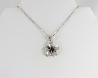 Sterling Silver Hawaiian Plumeria Flower Necklace