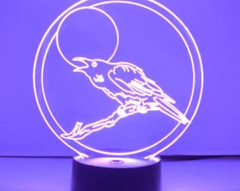 Talking Moon Crow Colour Changing LED Acrylic Light
