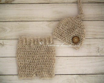 Baby pants and hat set, Baby boy photo prop, Crochet infant set for Newborn to 6 Months, Multiple colors - Made to order, Alpaca wool