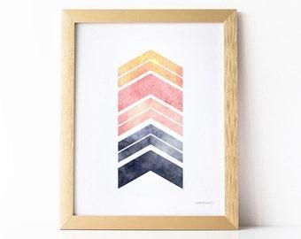 Printable wall art, Modern prints, Pink and gray Chevron Print, Geometric Arrows Print, Home Office Modern wall art, Printable Art Download