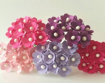 50 Mini pink paper flower set/ Pink Flowers / pink paper flowers small