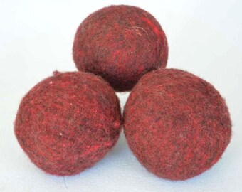 XL Wool Dryer Balls- Canadian wool-Red Dryer Balls