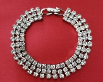 Art Deco 3-row Rhinestone Bracelet