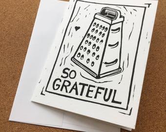 So Grateful Original Linocut Print Greeting Card With Envelope